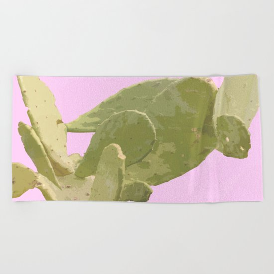 Green cactus on a pink background Beach Towel