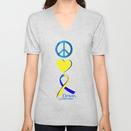 Down Syndrome Suppor Gifts Unisex V-Neck