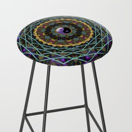 Purple Yin Yang Sacred Geometry Fractals Bar Stool