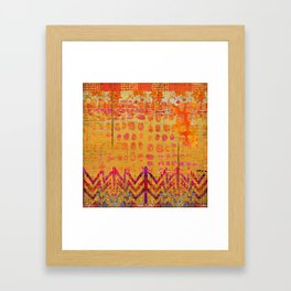 Gold and Orange Dot Abstract Art Collage Framed Art Print