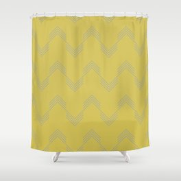 Simply Deconstructed Chevron Retro Gray on Mod Yellow Shower Curtain