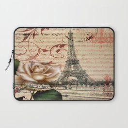 vintage chandelier white rose music notes Paris eiffel tower Laptop Sleeve