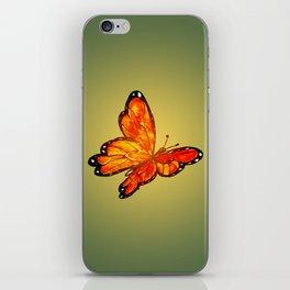 Orange Watercolor Butterfly Design iPhone Skin