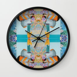 he wore mesh and she, puffy sleeves - a modern collage in blue and orange Wall Clock