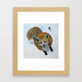 Fox and Chickadee Framed Art Print