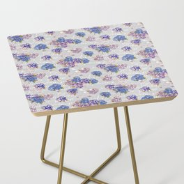 Hydrangeas and French Script with birds on gray background Side Table