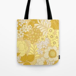 Yellow, Ivory & Brown Retro Floral Pattern Tote Bag
