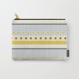 Squares and Stripes in Yellow and Gray Carry-All Pouch