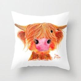 Scottish Highland Cow ' ORANGE ' by Shirley MacArthur Throw Pillow