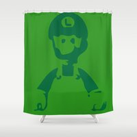 luigi Shower Curtains featuring In the shadows... Luigi by Quotables & Typos
