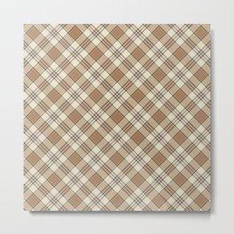 Brown and Tan Plaid Pattern Metal Print