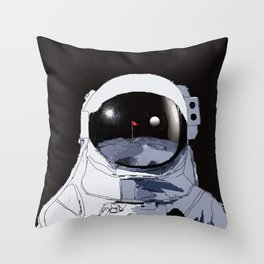 Astronaut Golf Course on the Moon Throw Pillow