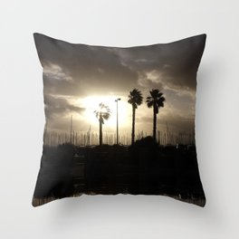Palm trees & boats Throw Pillow