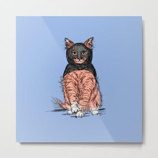 Periwinkle Pink Bat Cat Metal Print