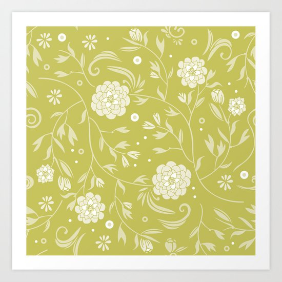 Sunny floral pattern Art Print