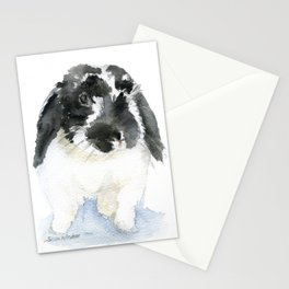 Black and White Bunny Rabbit Watercolor Stationery Cards