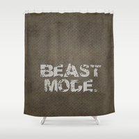 depeche mode Shower Curtains featuring Beast Mode. by Liesl Marelli