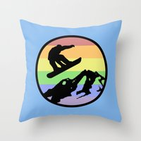 snowboarding Throw Pillows featuring snowboarding 2 by Paul Simms