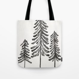 Pine Trees – Black Ink Tote Bag