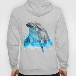 Dolphin Watercolor, Dolphin Painting, Dolphin Gift, Dolphin Poster, Dolphin Print, Dolphin Aquarelle Hoody