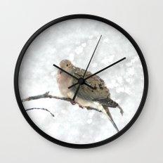 Snowy Winter Dove Wall Clock