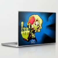 rock n roll Laptop & iPad Skins featuring Rock n' Roll Skull by Vida Graffiti