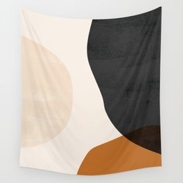Earth Tone Shapes Wall Tapestry