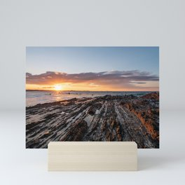 Surfers during sunset at Snapper Rocks Mini Art Print