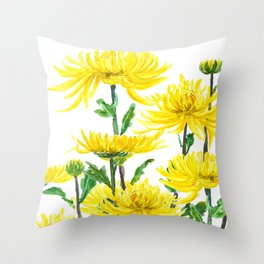 Yellow Chrysanthemums Throw Pillow