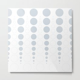 Up and down polka dot pattern in white and a pale icy gray Metal Print