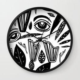 Eye Harp Leaves Wall Clock