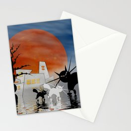 mooncats and their home Stationery Cards