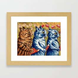 Three cats singing vintage painting Framed Art Print