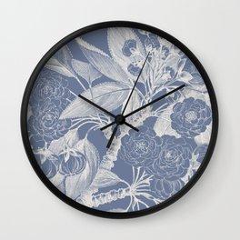 Floral, Rose, Vintage Prints, Antique Blue Wall Clock