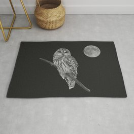 Owl, See the Moon (bw) Rug