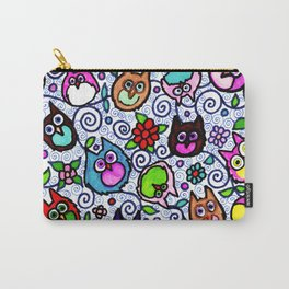 Whimsical Owl Pattern With Leaves And Swirls Carry-All Pouch