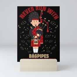 Bagpipes Kilt Skirt Scots Tartan Skirt Mini Art Print