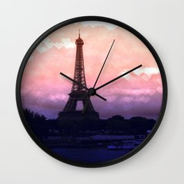 Paris Pastel Heart Bokeh Wall Clock
