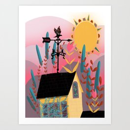 Summer Sunset Weathervane Art Print