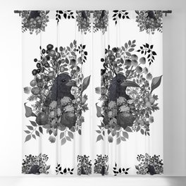 Raven in the Garden of Departed Botanicals Blackout Curtain