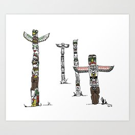 Stanley Park Totem poles Art Print