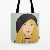 stevie nicks Tote Bags featuring stevie by Britt Whitaker Design