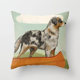 Australian Shepherd Canoe Throw Pillow