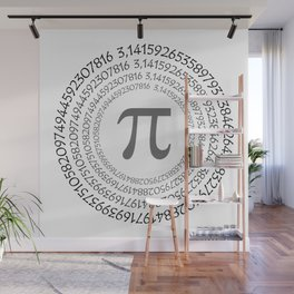 The Pi symbol mathematical constant irrational number on circle, greek letter, background Wall Mural