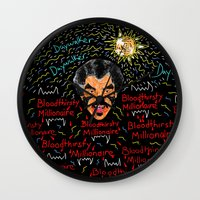 modern vampires of art history Wall Clocks featuring Rich Vampires Rule  by Bwilly Bwightt