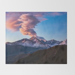 Fire on the Mountain - Sunrise Illuminates Cloud Over Longs Peak in Colorado Throw Blanket