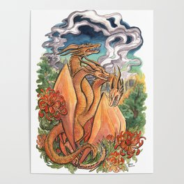 Three Headed Chrysanthemum Dragon Poster