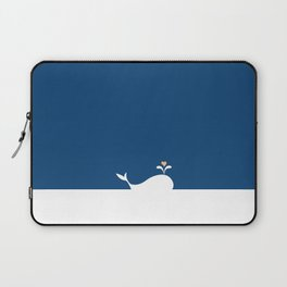 Whale in Blue Ocean with a Love Heart Laptop Sleeve
