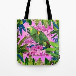 TROPICAL GREEN PARROT JUNGLE ART  ART DESIGN Tote Bag