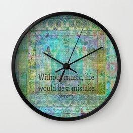Nietzsche music quote Wall Clock